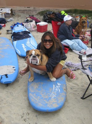 Gigi and Dozer getting ready to surf